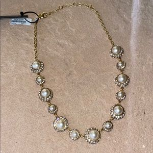 J. Crew Necklace Faux Pearl and Sparkly Stone